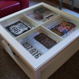 A shadow box table is a unique decoration for your living for Diy shadow box table