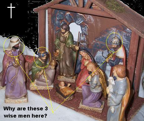 Nativity scene or manger scene with 3 wise men