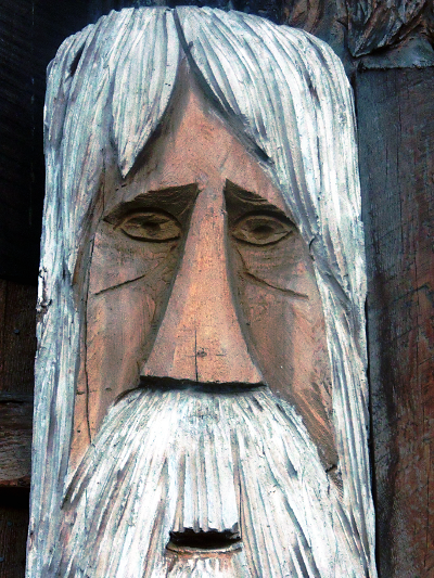 Beautifully Hand Painted Life-Sized Chainsaw Wood Carvings Of Unique And Individual Faces Copyright © 2013 C. Johnson, Home Of A Thousand Faces, Radium BC. All Rights Reserved