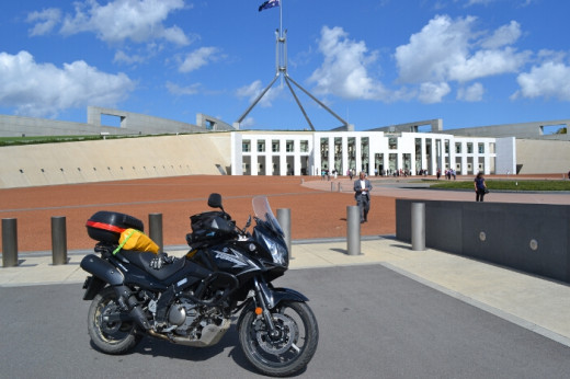 Day 4 - Outside Parliament House in Canberra. Yep, this is Australia's version of the White House folks!