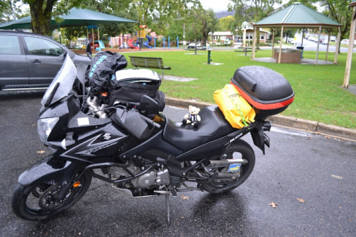 Day 5 - Waiting out the wild and wet weather in Tallangatta. The ride there from Corryong after getting a new battery was scary!