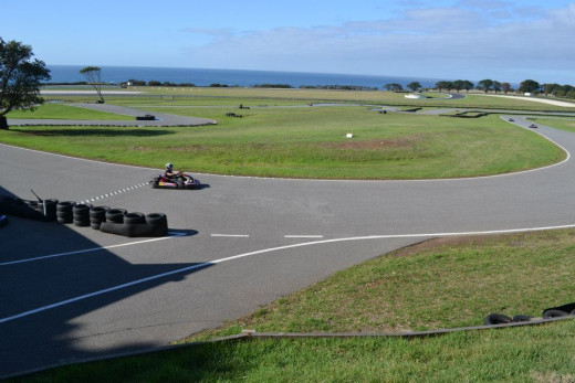Looking across the Go Kart track and Southern Loop of the Phillip Island Grand Prix Circuit to Bass Strait.