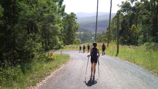 One of the long downhill road sections that are a nightmare for worn out feet.
