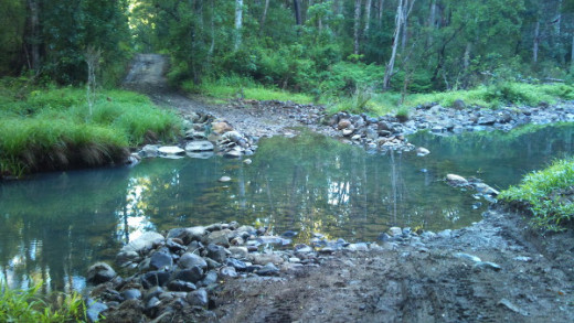 One of the many creek crossings on the Waterfall circuit part of the course.