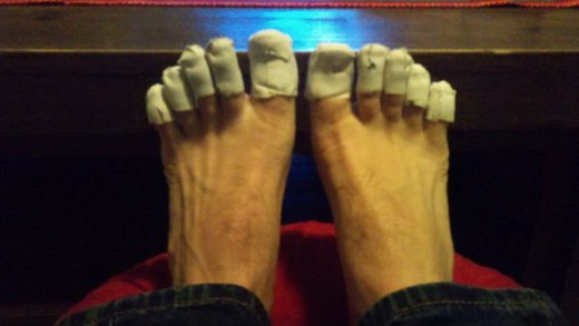 Taping the toes to stop chaffing and rubbing is a must. Some people lose toenails doing this event.