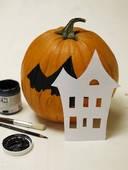 stenciled painted pumpkins