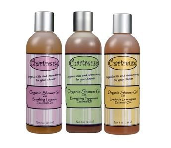 Also available: the Organic Shower Gel Set! Three aromatherapy scents: Lavender, Lemongrass, and Peppermint