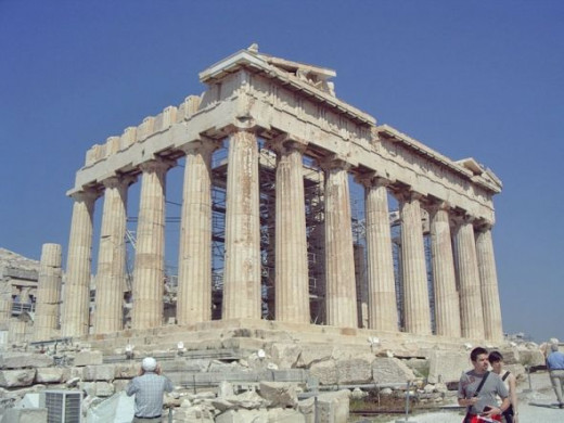 The southeast corner of the Parthenon shines in the sun.