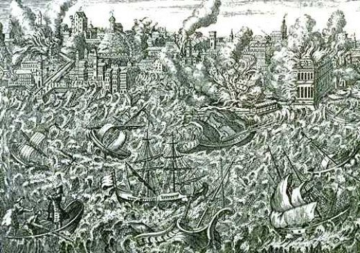 Great Lisbon Earthquake of 1755, contemporary engraving