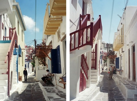 The streets of Mykonos Isle, most of them freshly whitewashed for Orthodox Easter. Tiny shops, cafes, and houses mix in this winding maze.