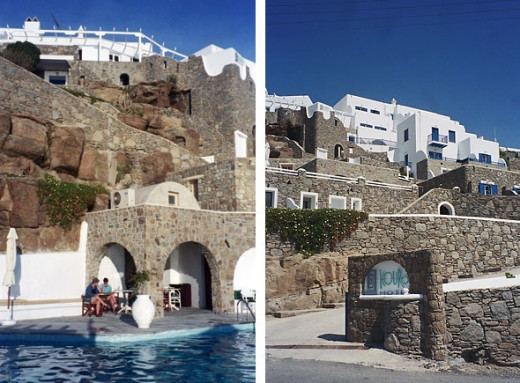 Two views of our hotel, the Kouros Hotel. My room was the blue doors with the stone balcony halfway up on the right. Lots of steps!