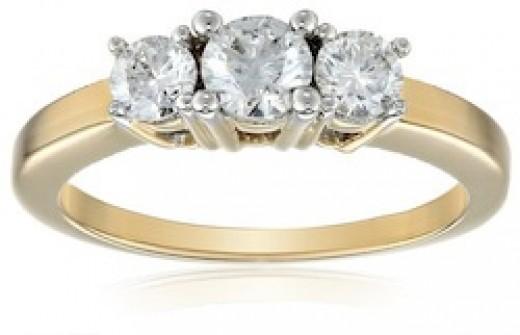 3 Stone engagement ring on Amazon