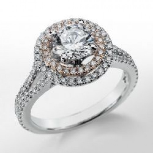 Monique Lhullier double halo rose gold engagement ring