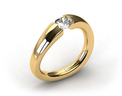 18k Yellow Gold Wave Tension Setting by Danhov