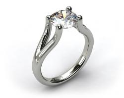 White Gold Ball-Tip Split Shank Tension Set Engagement Ring
