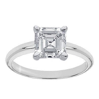 Shop Chandni Jewels online for a 1+ carat Asscher solitaire for under $10,000