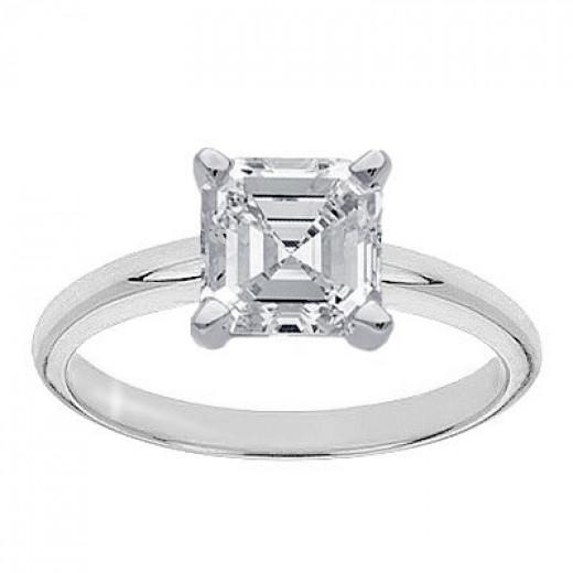 Shop Chandni Jewels online for a 1+ carat Asscher solitaire for under $10,000