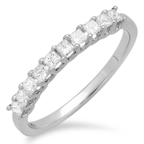 Have a princess cut engagement ring? It will look great with a princess cut anniversary band.
