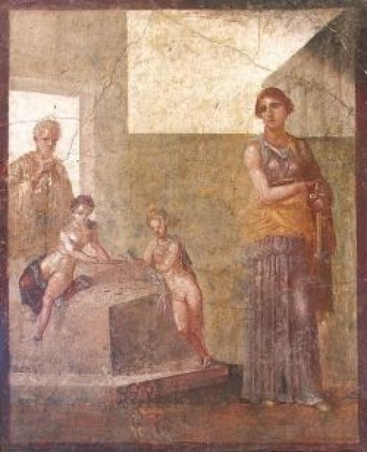 Medea, Jason and their children from a Roman fresco in Pompeii