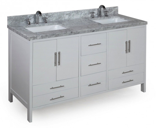 Looking for a contemporary vanity with squared sinks and a luxurious cararra marble counter?