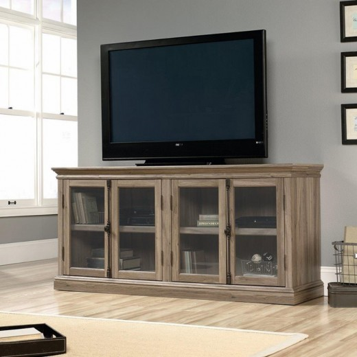 The Sauder Media Console has plenty of storage and a great weathered look. Plus, a price far lower than RH's version.