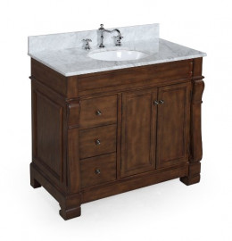 The Westminster vanity comes with either a cararra or travertine counter. All under $900 on Amazon
