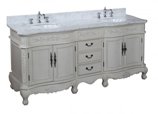 Love French Country Style? The Versailles 72-inch Bathroom Vanity has a high end marble counter top and carved details for a low budget friendly price.