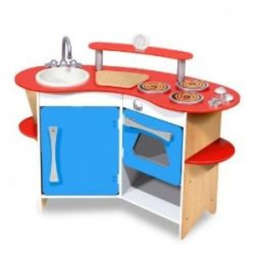 Unisex compact wood play kitchen