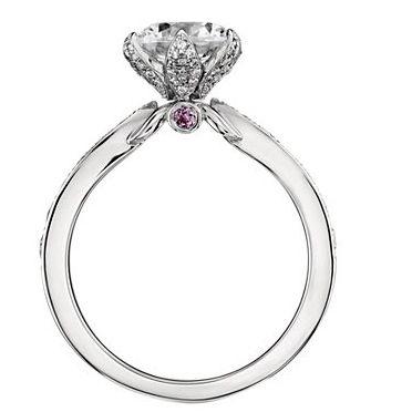 Monique Lhuillier Petal Pavé Diamond Engagement Ring on finger