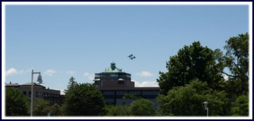 Blue Angels Flying Over Town