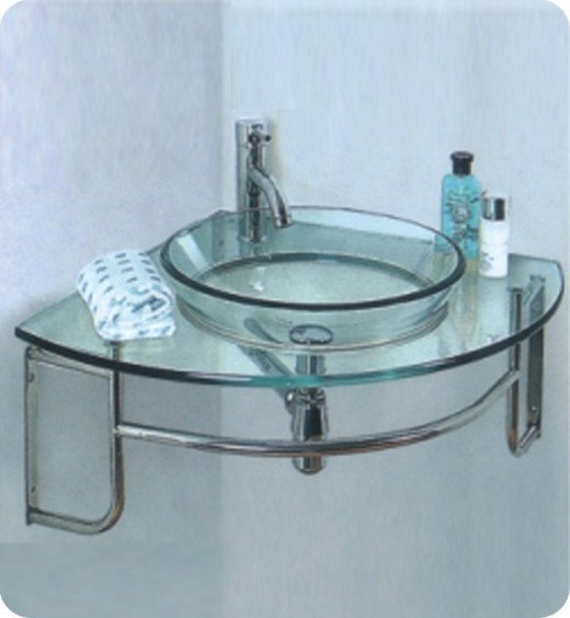 A corner mount, glass counter and integrated towel bar helps this sink maximize space in every way.