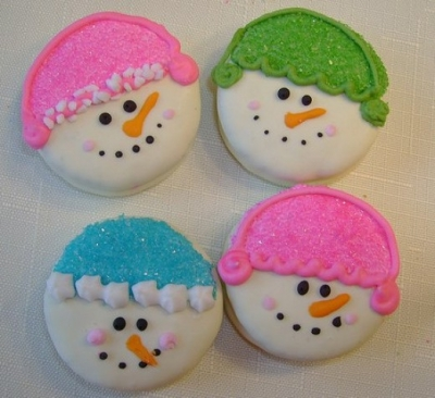 Pretty Pink and Blue Snowman