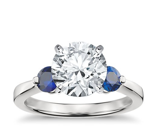 Save $$ on an easily imitable sapphire three-stone ring when you buy it from Blue Nile, not Tiffany's