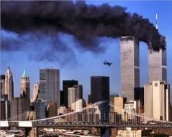 The burning twin towers of WTC, New York City