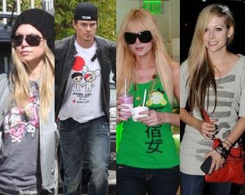 Fergie, Duhamel wearing Tokidoki; Avril, Hilton wearing HL