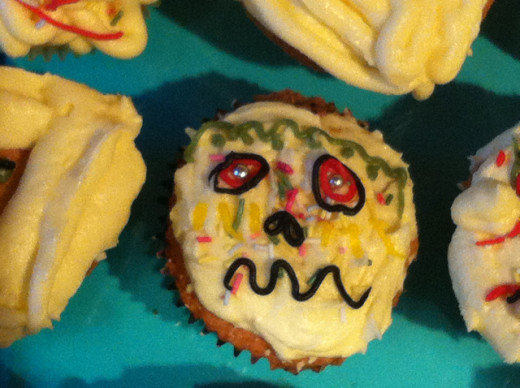 More scary faces created with icing pens