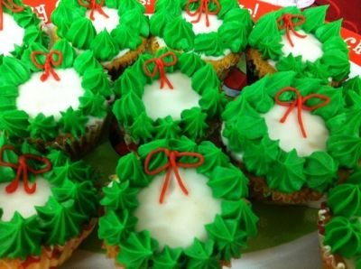 Plain sponge cupcakes are the perfect base for wreath cupcakes. Photo copyright of the author
