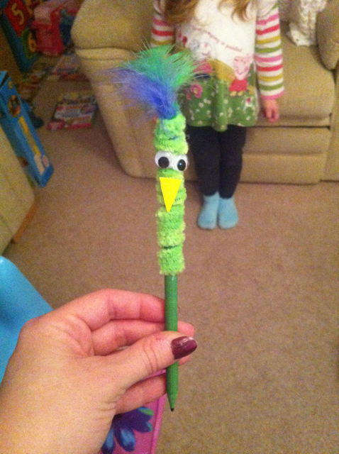 A funky pen made from pipe cleaners and other items from the kit, inspired by the Mister Maker show