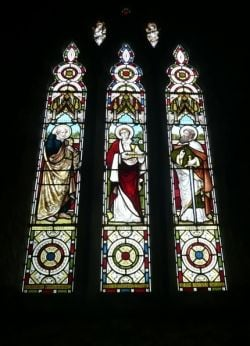 Stained Glass Window of St Senara's Church, Zennor. Image copyright of the author (2009)