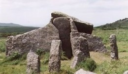 Zennor Quoit, an ancient megalithic burial chamber just west of the village