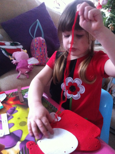 "Pud is now 4 and has just started basic sewing with a ""sew-your-own"" kit..."