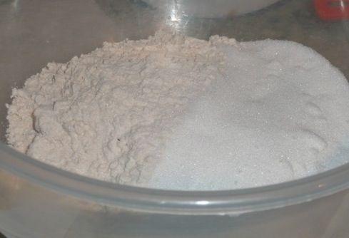 1. Mix together the flour, sugar and salt