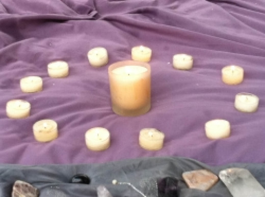 Candles for full moon ritual - copyright of the author (c) 2011