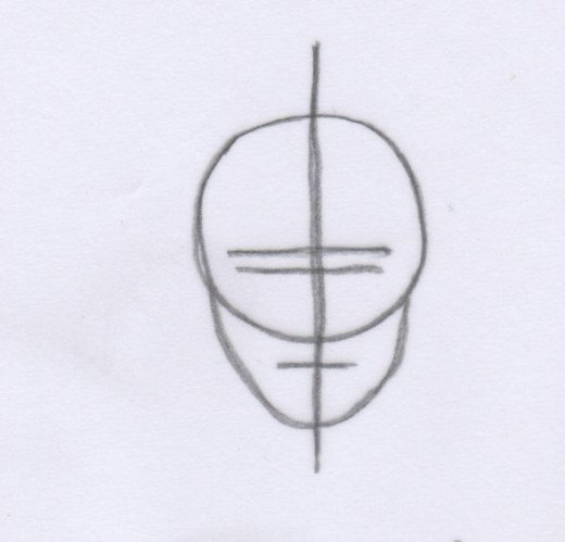 To begin, draw the outline shapes of the face. Draw a circle for the face shape and then draw a line down the centre of the face - if it is tilted slightly to the left or right then the line will be off centre, as shown. Draw in the rest of the facia
