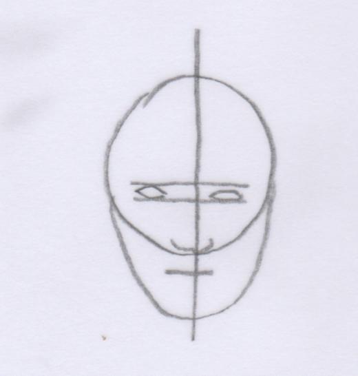 Draw the eyes in between your eye lines.