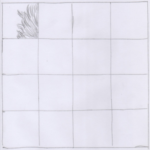 Place your traced grid back over the photo and copy the first section.
