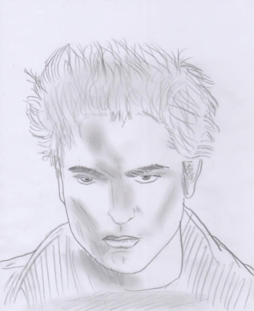 You can continue to work on the piece until you are happy, or try working with different expressions. This is another version I sketched, with Edward looking a little angrier!