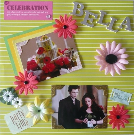 Twilight Scrapbook Page Bella's Birthday Cake. Copyright of the author
