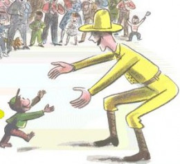The Man in the Yellow Hat. That's what he goes by. He's the keeper/friend/foster parent(?) to George.