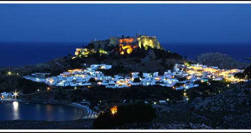 Historic village of Lindos with its ancient Hellenistic Acropolis.